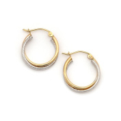 """14k White and Yellow Gold 3mm Two-Tone Twisted Double Row Hoop Earrings - 0.8"""""""