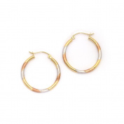 "14k White, Yellow & Rose Gold 2mm Tri-Tone Striped Hoop Earrings - 1"""