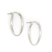 "14k White Gold 2mm Twisted Oval Hoop Earrings, 1.1"""