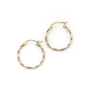 """14k White and Yellow Gold 2mm Small Twisted Two-Tone Hoop Earrings, 0.8"""""""