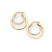 """14k White and Yellow Gold 5mm Two-Tone Double Row Hoop Earrings, 0.9"""""""