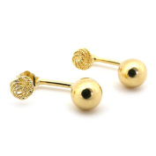 14k Yellow Gold Love Knot Stud Earrings with Polished 8mm Ball Jacket
