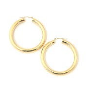 """14k Yellow Gold 5mm Thick Polished Hoop Earrings, 1.5"""""""