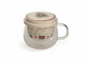Villa d 'Este Home Tivoli Snow Tea Cup with Filter, Bone China, Multi-Colour, 9.5 cm