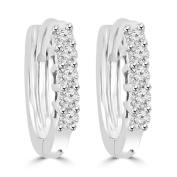 0.25 ct Ladies Round Cut Diamond Hoop Huggie Earrings In 14 Kt White Gold