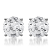 14k White Gold 1.00ct TDW Round Certified Diamond Solitaire Stud Earrings,