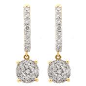14k Yellow Gold 1ct TDW Diamond Unity Drop Hoop Earrings
