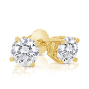 1.00ct tw Round Diamond Stud Earrings with Screw Backs in 14k Yellow Gold