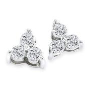 1/2ct Three Diamond Triangle Style Diamond Earrings In 14k White Gold