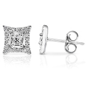 Diamond Square Cluster Stud Earrings 3/8 Carat (ctw) in 14K White Gold