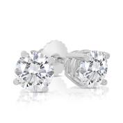 1.00ct tw Round Diamond Stud Earrings with Screw Backs 14k White Gold