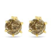 14K Yellow Gold 0.75 CTTW 6-Prong Champagne Diamond Earrings