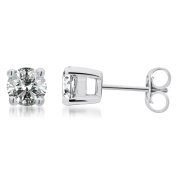 1 1/4 Ct.t.w Round Diamond Solitaire Stud Earrings in Sterling Silver,