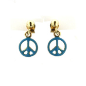 18Kt Yellow Gold with Blue Enamel Peace Sign Stud
