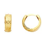Ladies 14K Solid Yellow Gold Two Tone Engraved Crosshatch Hoop Huggie Earrings