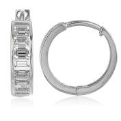 14k White Gold 15-mm Baguette-cut Cubic Zirconia Hinged Hoop Earrings