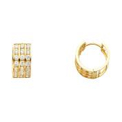 7mm 14K Solid Yellow Gold 3 Row Cubic Zirconia Huggies Earrings