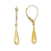 14K Yellow Gold Hollow Teardrop Dangle Earrings