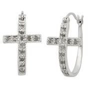 JewelExclusive Sterling Silver 1/4cttw Natural Round-Cut Diamond (J-K Colour, I2-I3 Clarity) Cross Click Top Hoop Earring