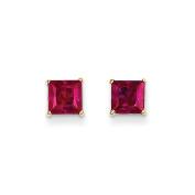14K Yellow Gold Ruby Stud Earrings - 1MM