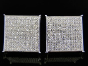 Mens/Ladies Sterling Silver Square Shaped Simulated Diamond Earrings studs 18mm