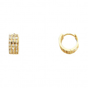 Ladies 14K Solid Yellow Gold 5mm Thickness 3 Row Cubic Zirconia Hoop Huggie Earrings