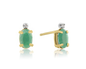 14k Yellow Gold 1ct Oval Emerald and Diamond Earrings