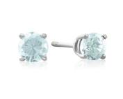 14k White Gold .60ct Blue Topaz Stud Earrings