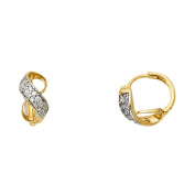 Two Tone 14K Solid Yellow Gold Cubic Zirconia Looped Huggie Earrings