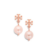 Tory Burch Evie Logo Pearl Drop Earrings 16k Rose Gold with Dust Cover