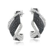 1/4 Ct Black & White Diamond Twist Half Hoop Earrings