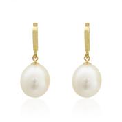 Pearlyta 14k Yellow Gold Teardrop Freshwater Pearl Hanging Earrings