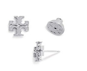 Tory Burch Small T-Logo Stud Earrings in Silver with Dust Cover