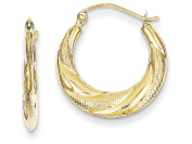 10k Textured Scalloped Hollow Hoop Earrings in 10 kt Yellow Gold