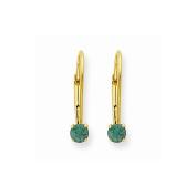 14K Yellow Gold Round Cut Emerald Drop Earrings