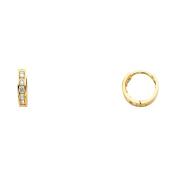 Ladies 14K Solid Yellow Gold 2mm Thickness Cubic Zirconia Hoop Huggie Earrings