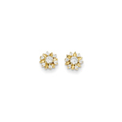 14K Yellow Gold White Synthetic Cubic Zirconia Flower Post Stud Earrings