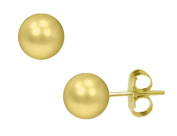 Gold Button Ball 6mm Stud Earrings in 14K Yellow Gold