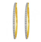 Gold Over Sterling Silver 1/4 Ct.t.w Diamond Hoop Earrings