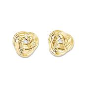 14K Yellow Gold Love Knot Stud Earrings