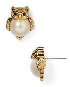kate spade Into the Woods Owl Stud Earrings 12k Gold