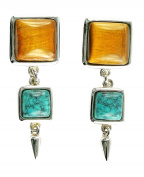 Tiger's Eye and Turquoise 925 Sterling Silver Stud Earrings