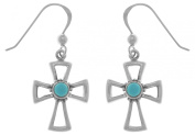 Jewellery Trends Sterling Silver and Created Turquoise Celtic Cross Dangle Earrings
