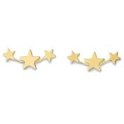 14K Yellow Gold Triple Star Stud Earrings