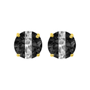 14k Yellow Gold Midnight Black and White Stripe Cubic Zirconia 6-mm Stud Earrings