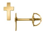 Baby Cross Earrings in 14K Yellow Gold with Screwbacks