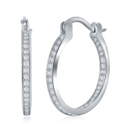 Womens Sterling Silver 925 Cubic Zirconia Inside Out Hoop Earrings For Ladies And Girls