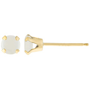 .10 CT Round 3MM White Opal 14K Yellow Gold Stud Birthstone Earrings