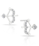 Small Sterling Silver Bow and Arrow Stud Earrings with Cubic Zirconia