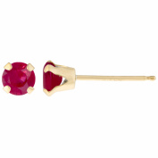 .30 CT Round 3MM Red Ruby 14K Yellow Gold Women's Stud Birthstone Earrings
